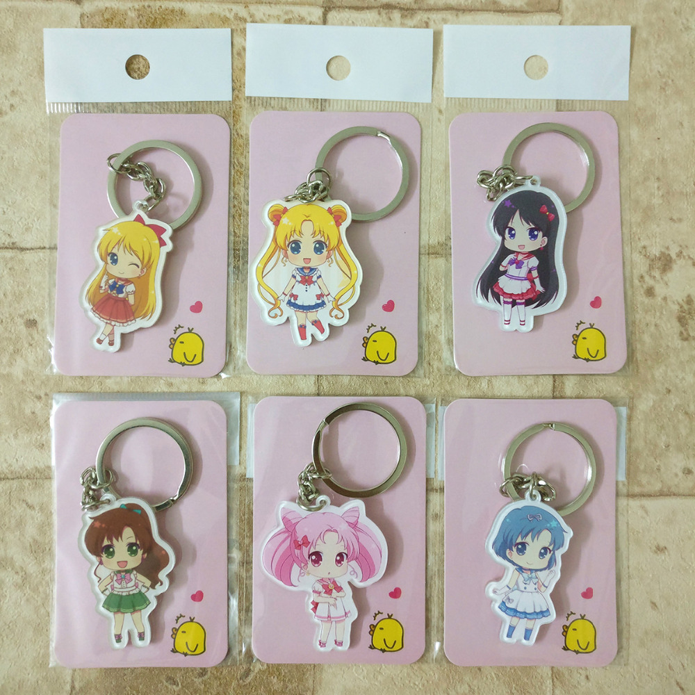 6PCS lot Sailor Moon Keychain Keyrings Fashion font b Jewelry b font Key Chain Hot Sale