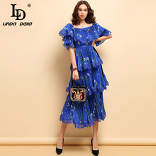 LD LINDA DELLA Spring Fashion Dress Womens Bow Tie Vintage Pleated Floral Printed Hollow Out Elegant Party Cupcake Dresses 2019
