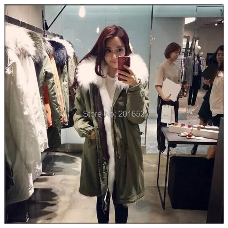 2015 High Quality Winter coat women parkas womens real raccoon large fur coat Full lining of fur coat Army Green mr mrs fur