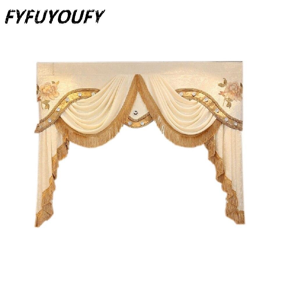Cantonnière de décoration de luxe européen élégant rideau brodé et cantonnière