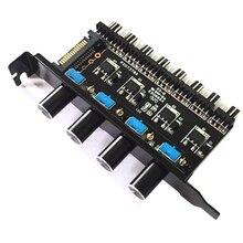 цена на Pc 8 Channels Fan Hub 4 Knob Cooling Fan Speed Controller For Cpu Case Hdd Vga Pwm Fan Pci Bracket Power By 12V Fan Control
