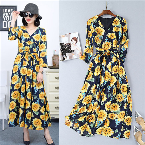 new xl spring famous brand flare dress v-neck mid-calf 2018 new fashion sunflower print midi dresses long sleeve free shipping famous brand new blue green women size xl paisley print v neck blouse $90 351 page 6