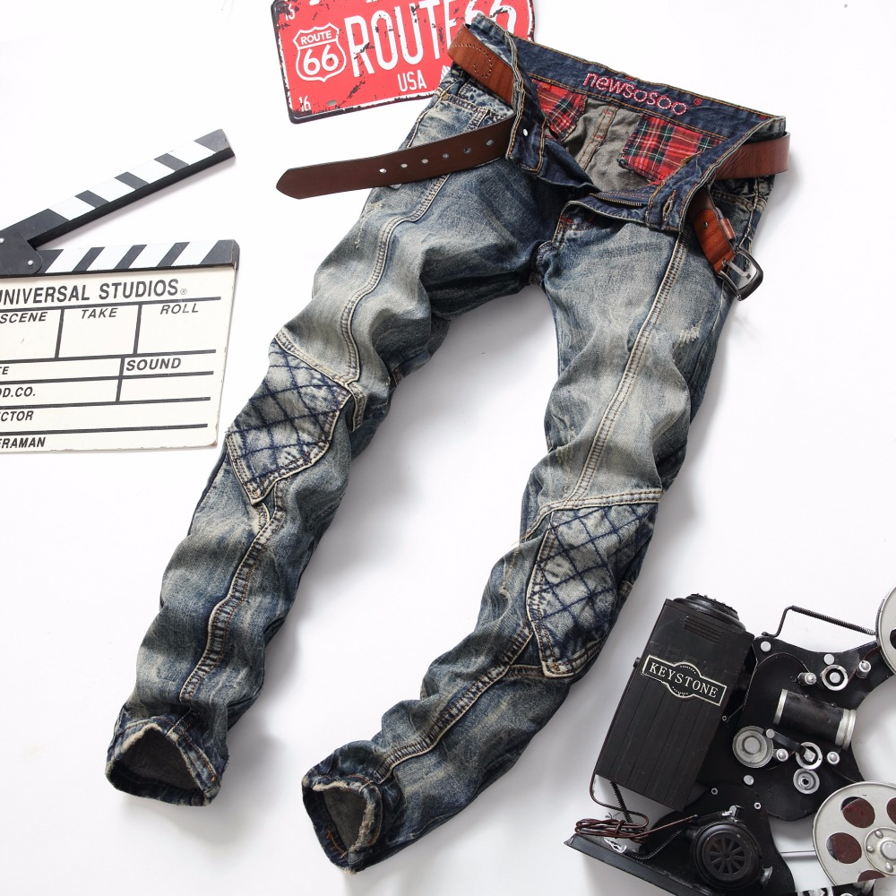 ФОТО 2017 Classic Biker Motorcycle Blue Jeans Retro Men Jeans Slim hip hop Patch Ripped Denim Hip Hop Streetwear Rap Jeans Men