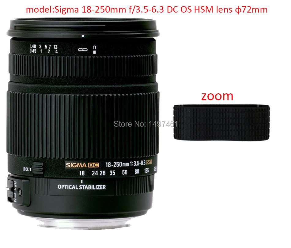 Lens Zoom Rubber Ring/Rubber Grip Repair Succedaneum For Sigma 18-250mm f/3.5-6.3 DC OS HSM lens