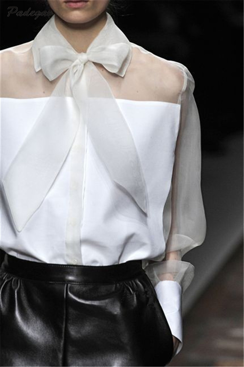 PADEGAO Bowknot Translucent Lapel Long Sleeve Women Runway Shirt 2017 Summer Elegant Blouse Fashion Ladies Gauze