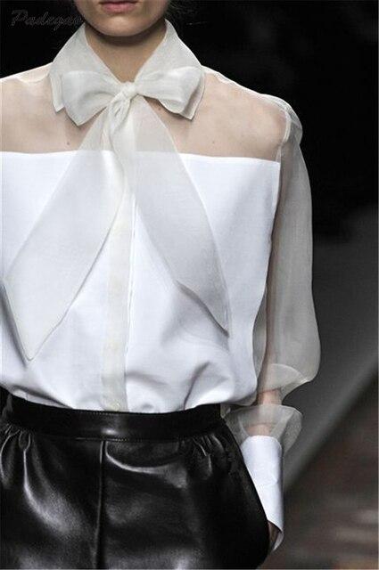 PADEGAO Bowknot Translucent Lapel Long Sleeve Women Runway Shirt 2017 Summer Elegant Blouse Fashion Ladies Gauze Tops Clothing