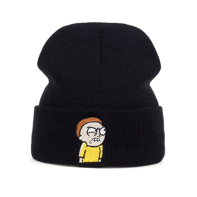 כועסת Morty כובע סרוג הכי חדש ריק ו Morty כפת Skullies החורף החם לסרוג כובע ספורט סקי חיצוני רקמה המעודנת