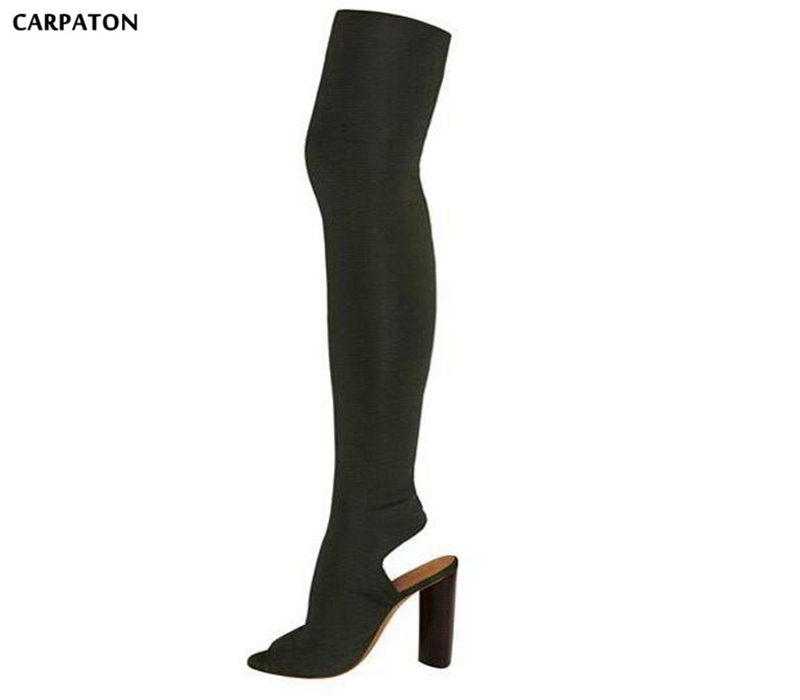 Carpaton Fashion Stretch Fabric Over the Knee High Heel Boots 2018 Sexy Peep Toe Square Heels Thigh High Boots Woman Shoes