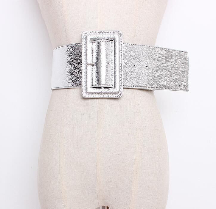 Women's Runway Fashion Pu Leather Cummerbunds Female Dress Corsets Waistband Belts Decoration Wide Belt R1704