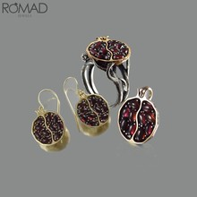 ROMAD Vintage Red Stone แหวนคริสตัลแหวนโกเมนอัญมณี Stonel bague Party ผลไม้ anillo mujeres R5(China)