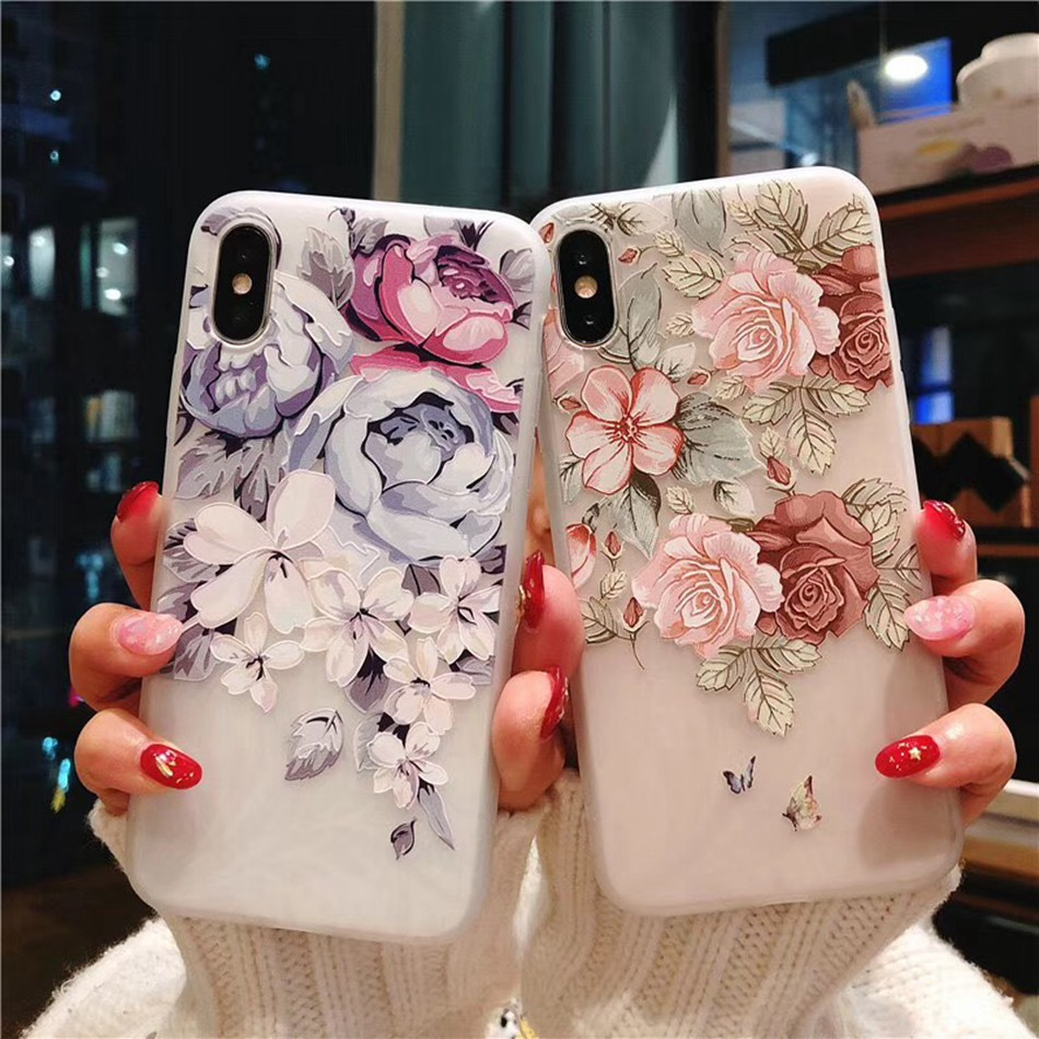 KISSCASE Sexy Floral Patterned Case For iPhone 7 8 6s 6 5s 5 SE Matte Back Soft TPU Phone Cases For iPhone X 7 8 Plus 6s 6 Plus