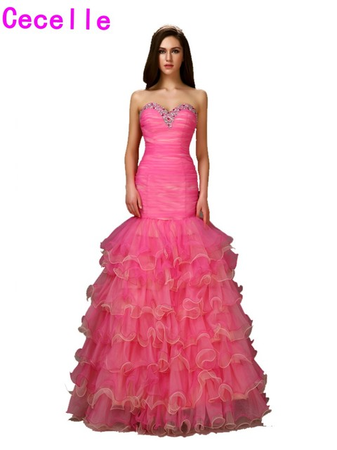 422fffab85a Formal Hot Pink Tow Tones Fitted Mermaid Prom Dresses 2019 Sweetheart  Beaded Pleats Tiered Organza Girls Evening Prom Gowns Sale