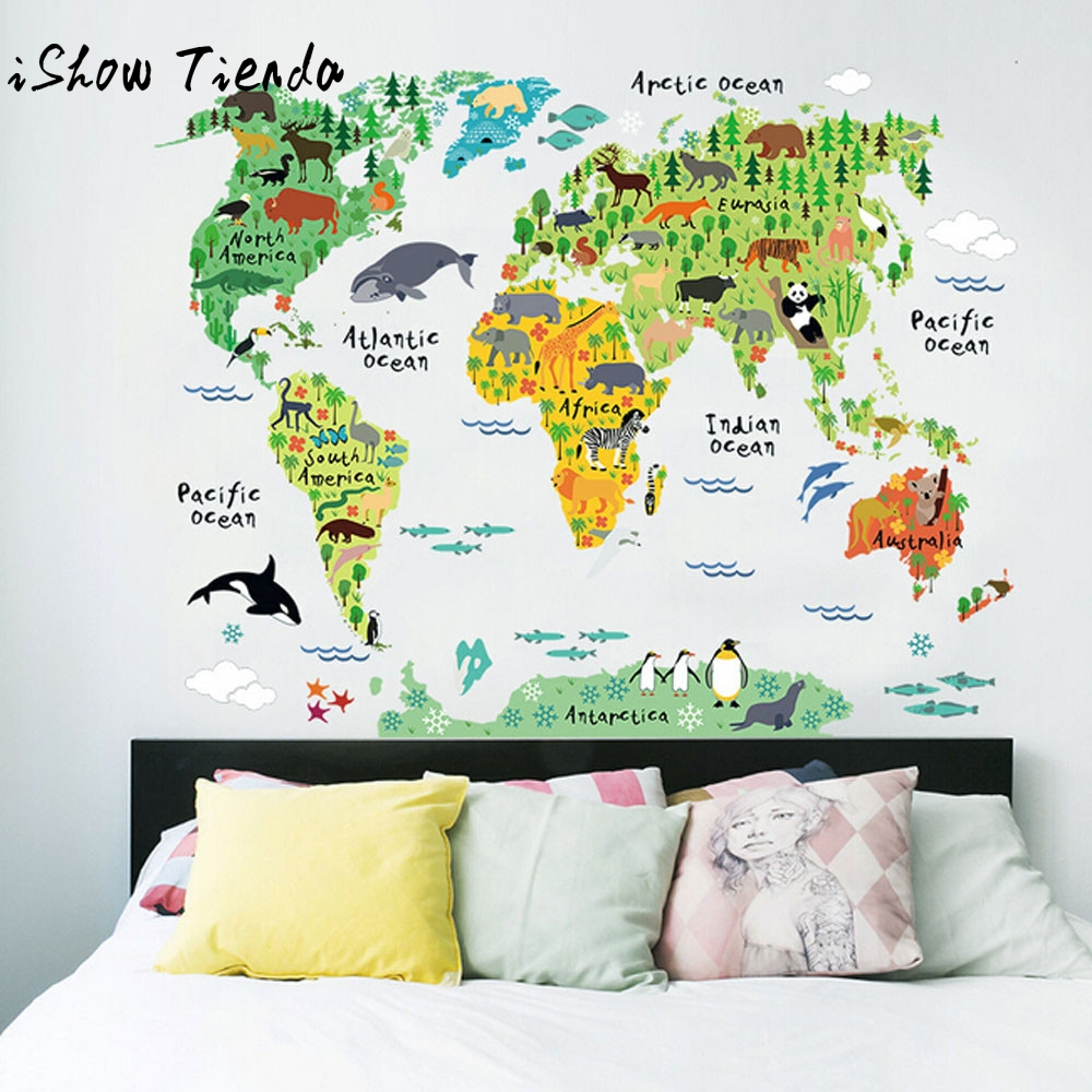 Animal World Map Removable Decal Art Mural Home Decor Wall Stickers ...