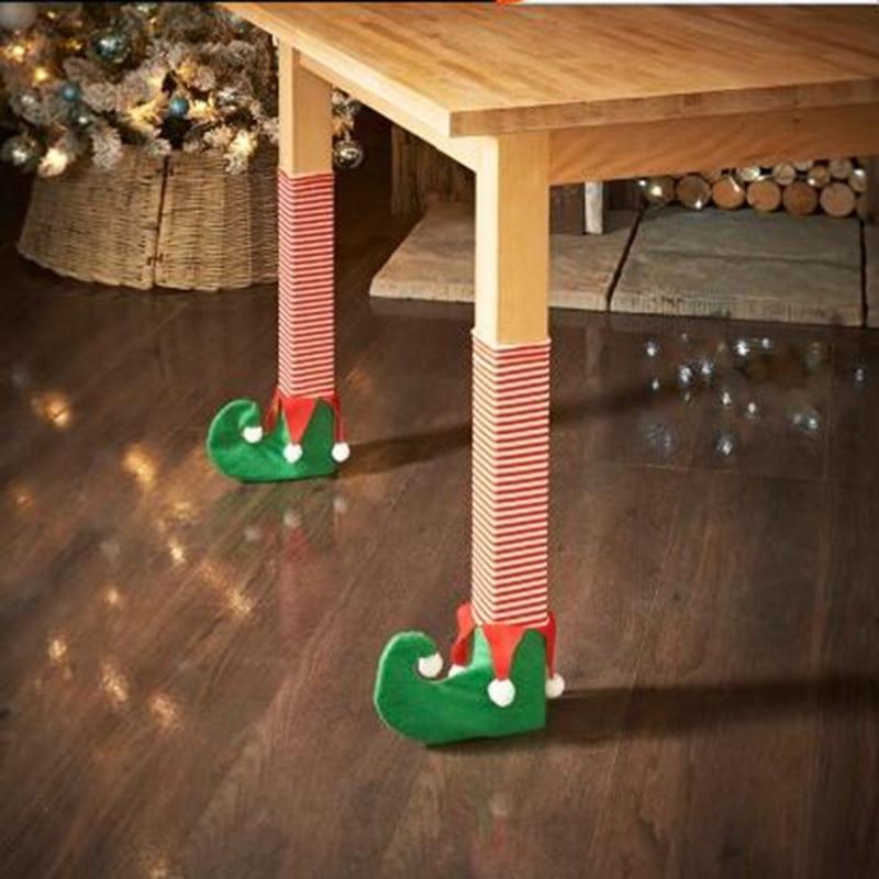 4pcs Christmas Santa/Elves Shoes Table Chair Legs Feet ...