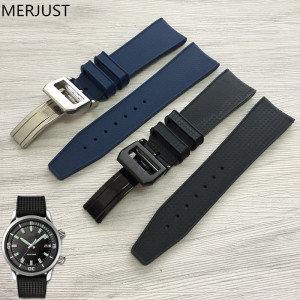 MERJUST 22mm Watchband Natural Rubber Silicone Blue Black Watch Strap Bracelet Belt Accessories For IW Watch Band Buckle