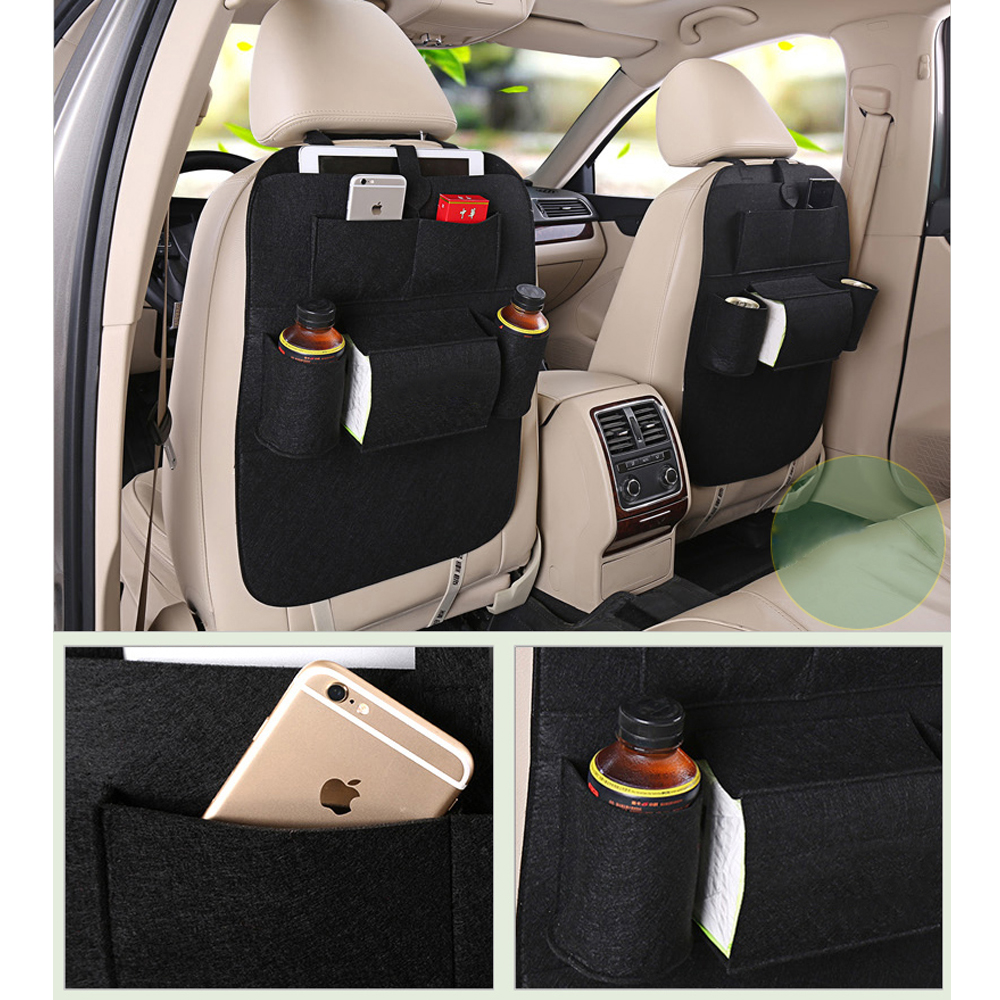 Stowing Tidying Dark Gray Multi Pocket Felt Car Styling Back Seat Black Storage Pouch Bottle Magazine Cup Food Bag IPad Phone In Nets From Automobiles