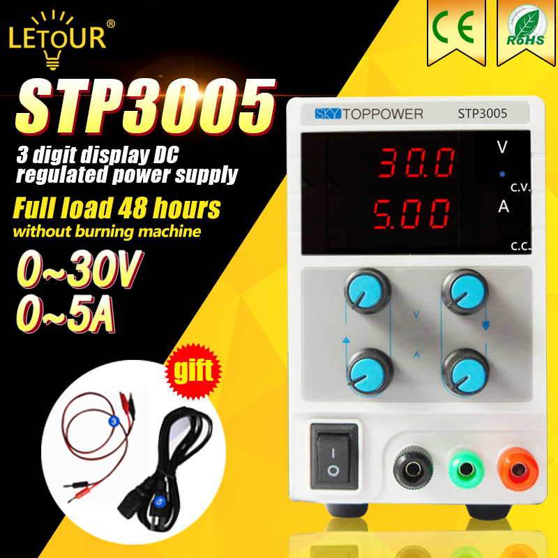 Laboratory Power Supply 30V 5A Voltage Regulator Adjustable DC Power Supply 150W Foot Power with Alligator Cable,AC Power Cord adjustable power supply ka3005d precision adjustable 30v 5a dc linear digital voltage regulator power supply free shipping