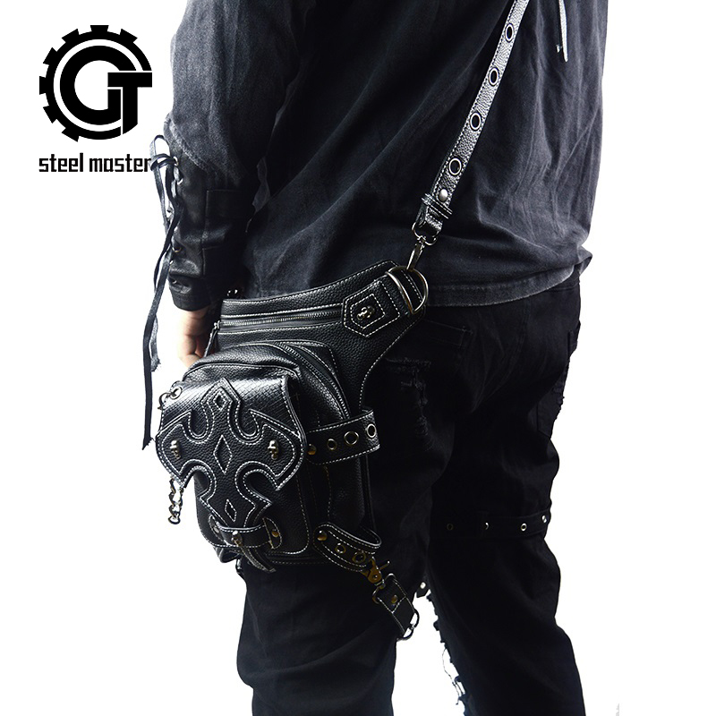 New Multi-functional Fanny Packs Retro Rock Skull Small Fashion Male Motorcy Leg Bag Cell Phone Pockets Steam Punk Men Waist Bag