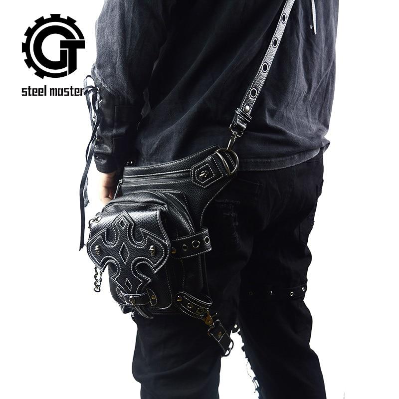 New Multi-functional Fanny Packs Retro Rock Skull Small Fashion Male Motorcy Leg Bag Cell Phone Pockets Steam Punk Men Waist Bag