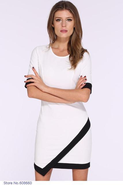 Vestido blanco negro corto
