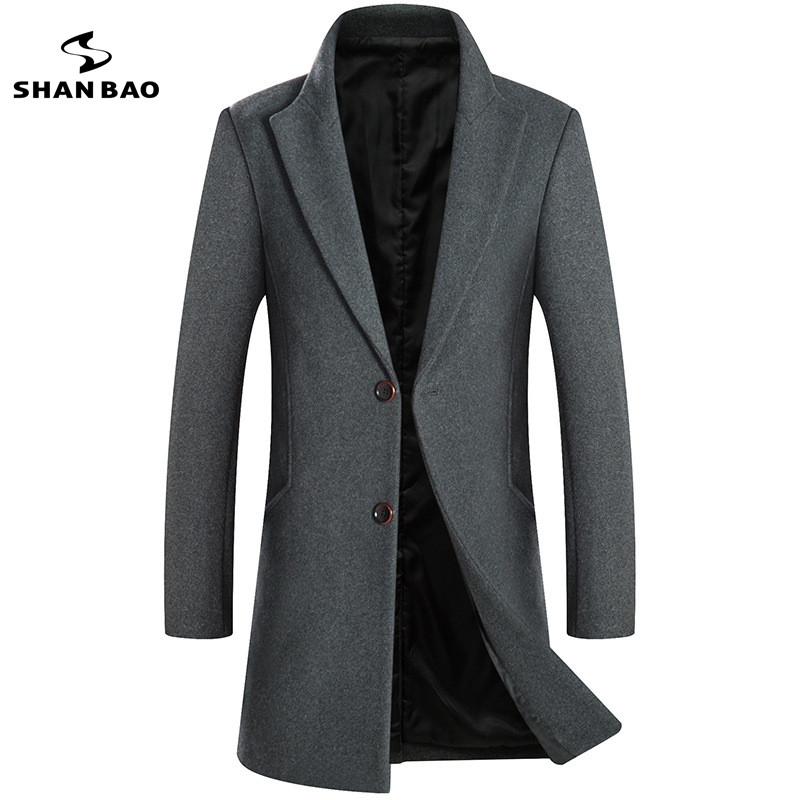 2018 autumn and winter new long wool coat plus velvet thick warm fashion casual men's lapel two buckles slim coat black gray red