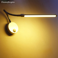 LED Reading Wall Lamps With Knob Switch 90 260V 5W Modern Bedroom Bedside Lamp Silver Light