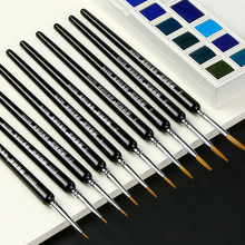 10Pcs Watercolor Paint Brush Set Weasel Hair Hook Line Brush Pen Fine Gouche Watercolor Acrylic Painting Brush Art Supplies 6pcs set watercolor brush weasel hair aquarelle paintbrush wooden handle artist paint brushes diamond shape hook line pen