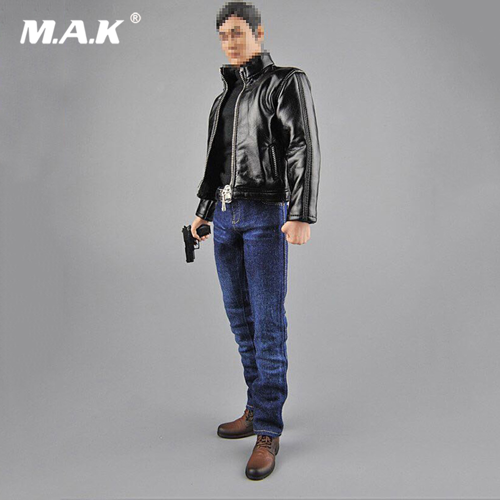 1 6 Male Clothes Accessory Agent Leather Suit CEN M07 Clothes Shoes Gun Model for 12