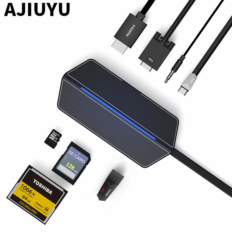 USB-C HDMI to VGA Converter Type-c HUB RJ45 SD Card Reader PD Charge For Asus VivoBook Flips Pro 15 17 N580 N705 S15 S14 Laptops