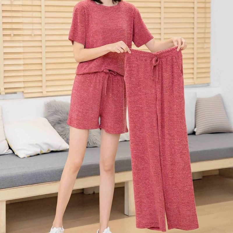 Casual Pajamas Set Women Soft Cotton Mom Sexy Pyjama Long Pants Shorts Shirt Blinder 3Piece/Set Big Size Home Sleepwear