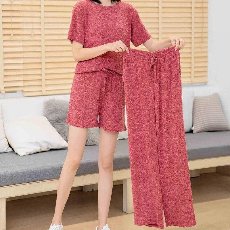 Casual   Pajamas     Set   Women Soft Cotton Mom Sexy Pyjama Long Pants Shorts Shirt Blinder 4Piece/  Set   Big Size Home Sleepwear