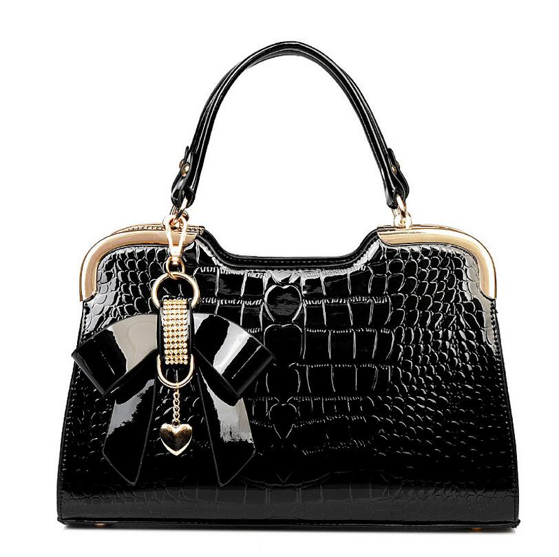 Elegant Crocodile Woman Handbag Bags Female Fashion Handbags Bow Patent Leather Shoulder Bag Bolsa Feminina Women Hand Bolsos patent leather handbag shoulder bag for women