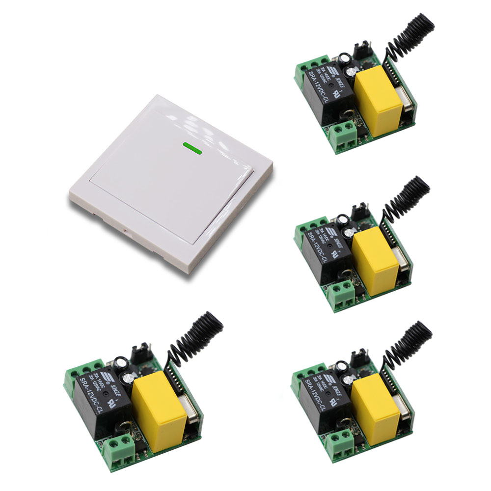 AC 220V 1CH Remote Control Switch Relay Receiver + 86 Wall Panel Transmitter Home Room Stairway Light Lamp Bulb LED Switch 110v 220v remote relay control switch 12ch receiver