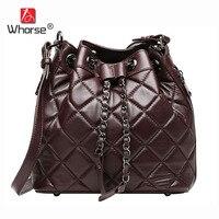 [Whorse] الماركات نساء رسول حقائب جلد الغنم حقيبة سلسلة مبطن السيدات الكتف حقيبة دلو أسود W07920