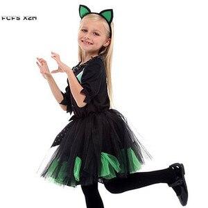 Image 3 - Kızlar cadılar bayramı Kitty kostüm çocuk çocuk kedi catwoman hayvan Cosplay karnaval Purim Masquerade sahne oyun parti elbise