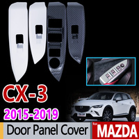 for Mazda CX 3 Carbon Fiber Chrome Window Switch Panel Cover 2015 2016 2017 2018 2019 CX3 CX 3 Accessories Car Styling Stickers