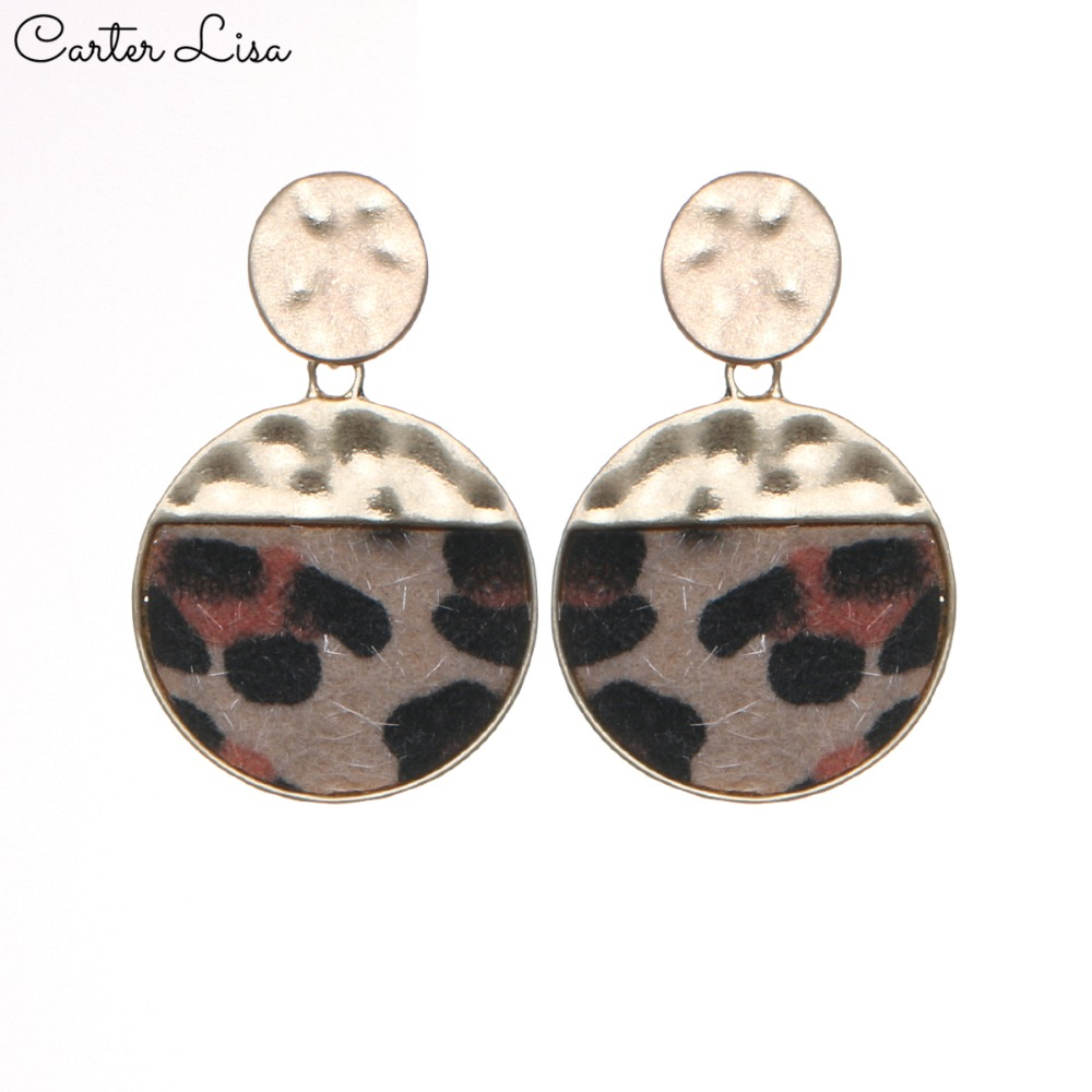 CARTER LISA Fashion Women Round Leopard Earrings Gold Color Pendant Dangle Earrings For Women Leather Earrings Jewelry Gift
