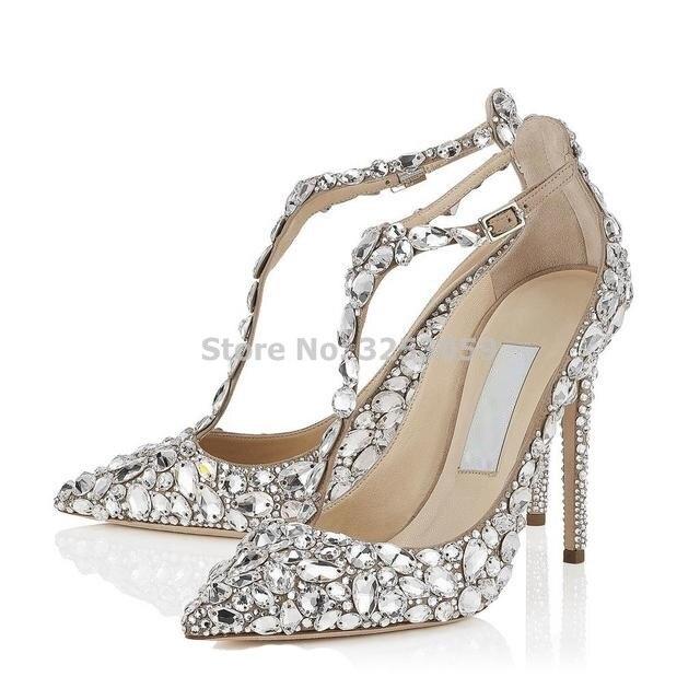 Bling Bling Crystal femmes chaussures de mariage bout pointu Super Stiletto talon haut sandales t bar couverture talon boucle sangle pompes