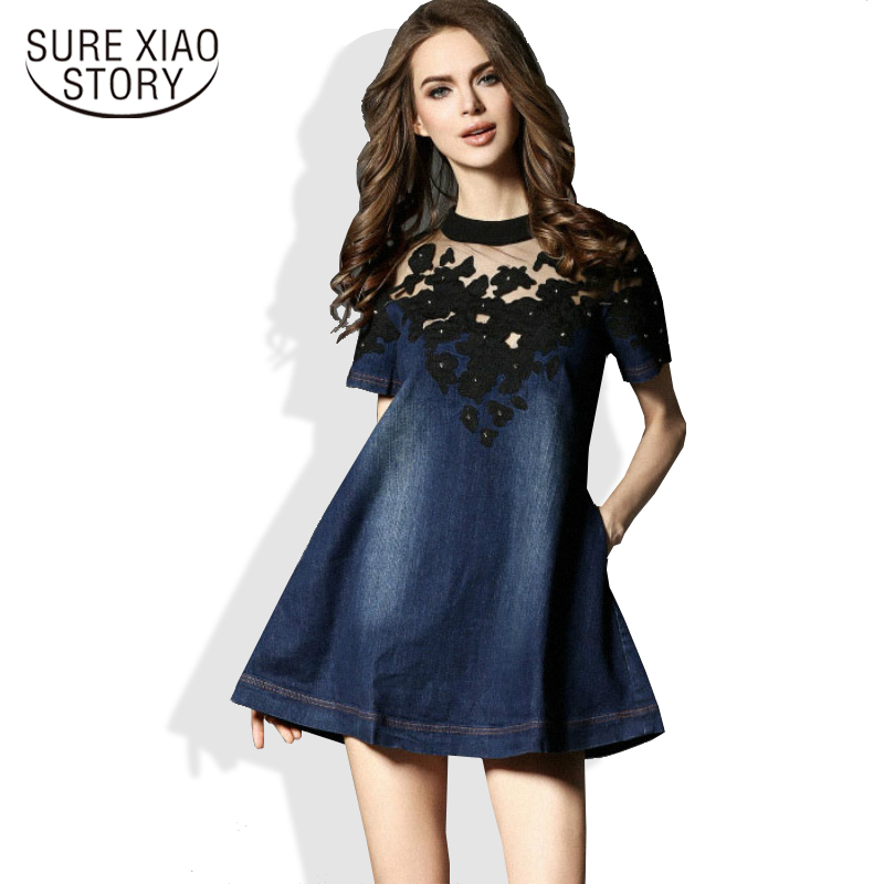 f39e5c081ac 2019 nueva moda femenina europa azul marino denim vestido de algodón de  manga corta mujeres ahuecado vestido 178B 25