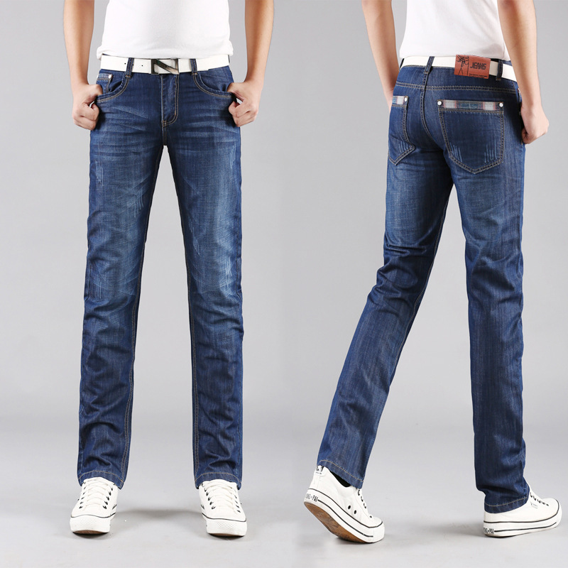 New Brand Men's Designer Blue Jeans Stretch Casual Straight Denim Jeans Male Slim Fit Cotton Business Trousers Vaqueros Hombre