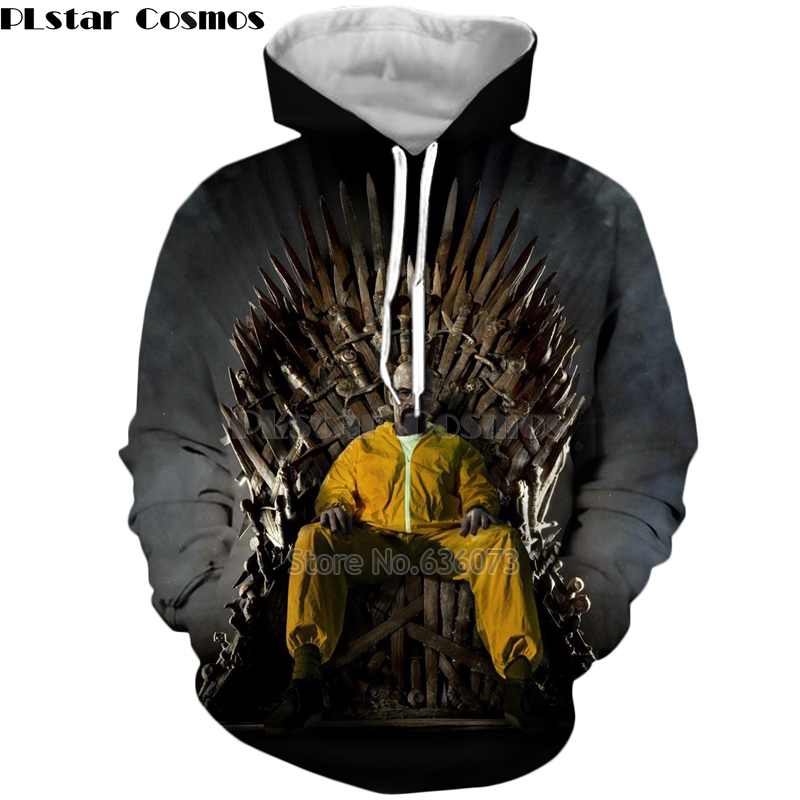 PLstar Cosmos Fashion Men <font><b>hoodies</b></font> breaking Bad movies characters Heisenberg Print <font><b>3d</b></font> Hoodie <font><b>Unisex</b></font> streetwear Hooded Sweatshirt image