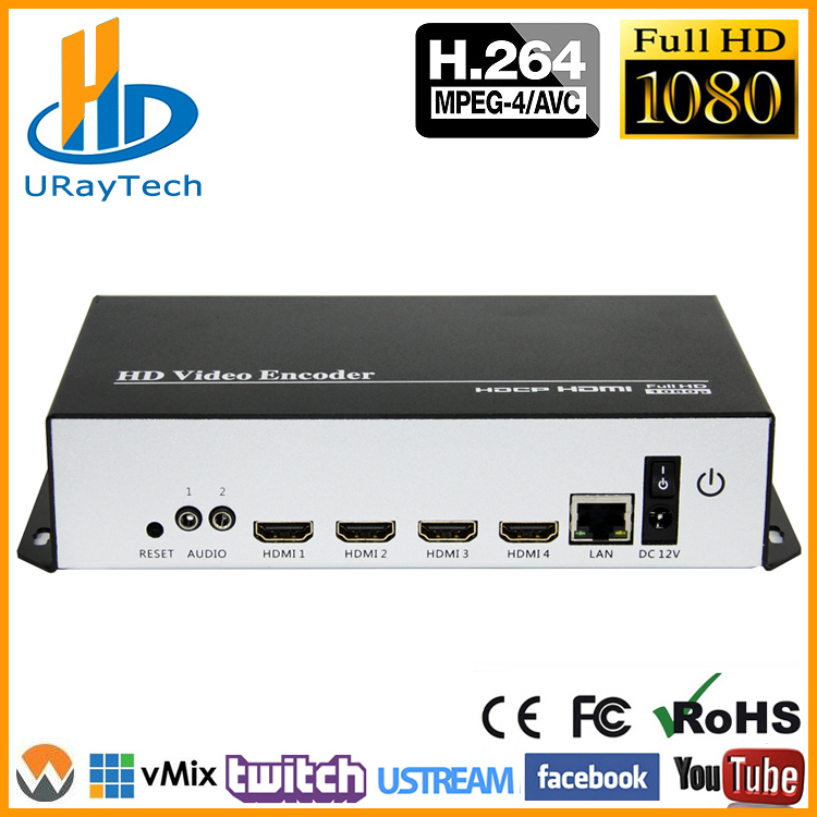 Coût-efficace 4 Canaux H.264 HDMI Encodeur Vidéo HDMI À LAN Codeur HDMI À IP Streaming Codeur Avec UDP HLS RTMP RTSP HTTP