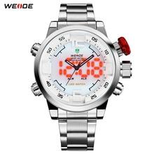 WEIDE Оригинальный Бренд Мужчины Часы Водонепроницаемые Нержавеющей Стали Серебряный LED Аналого-Цифровой Дисплей Белый Циферблат Наручные Часы Подарки Для мужчины