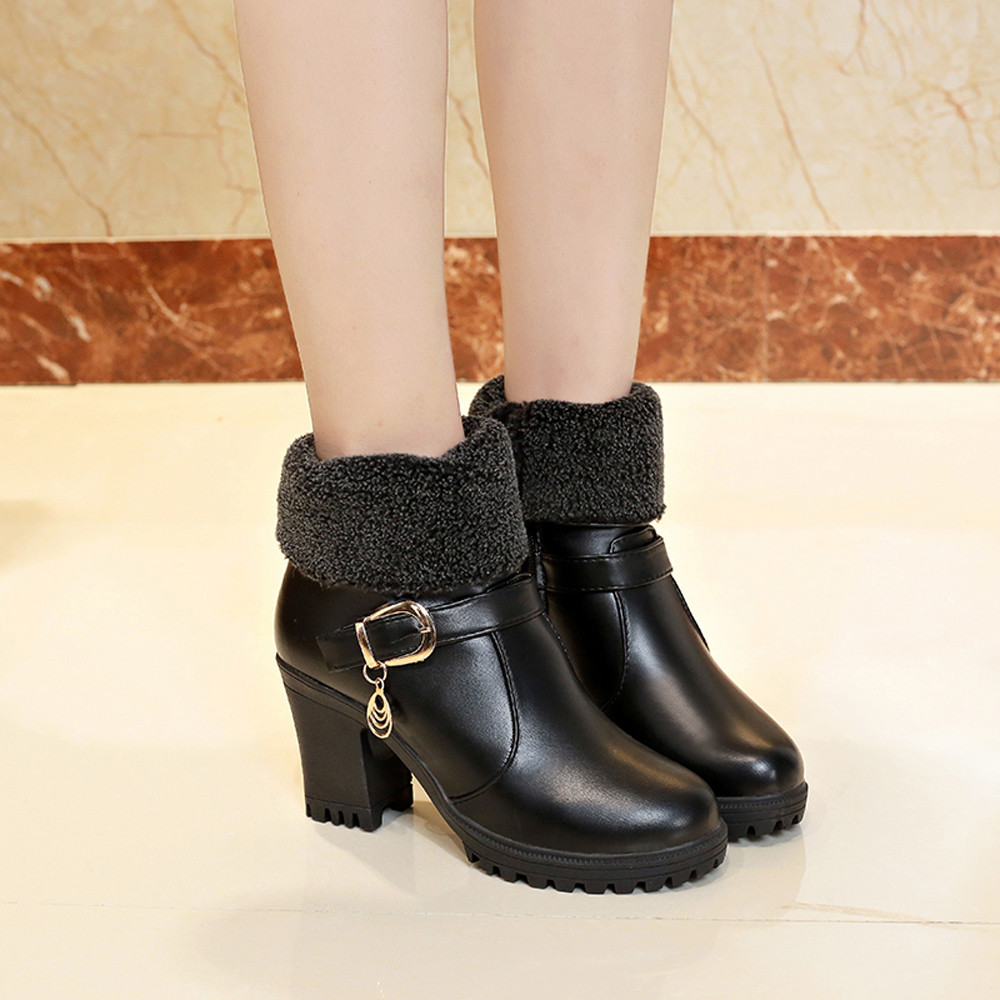 Caliente Mujeres Diseño Redondo Mantener Alto Calientes Botines Algodón De Cuero  Botas Las Tacón Tinto Negro vino Retro Pie Zapatos ... 301a38ff7a8b