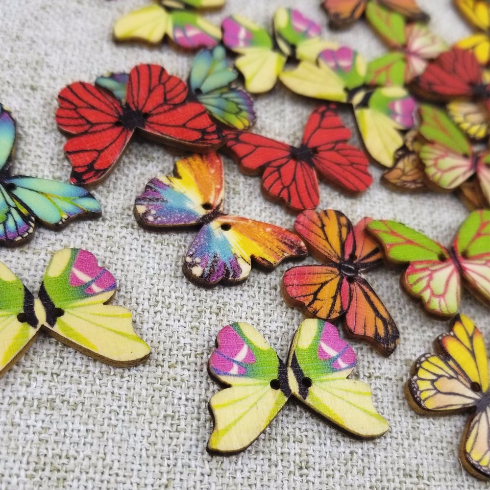 """3//4/"""" 10 White Blue Butterfly Buttons 18mm Insect Butterflies Sewing Crafts"""