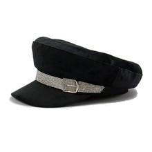 Hat Top-Hat Autumn Flat Fashion Women for Summer Sequins Diamond-Belt Female Military