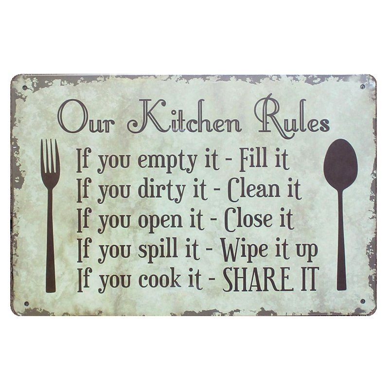 OUR KITCHEN RULES Shabby Chic Metal Signs Bar Pub