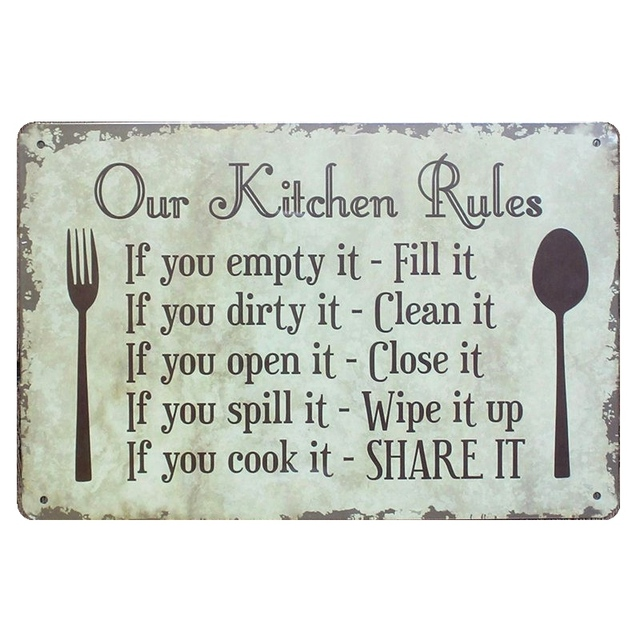 Our Kitchen Rules Shabby Chic Metal Signs Bar Pub Restaurant Home Decor Art Wall Stickers Vintage