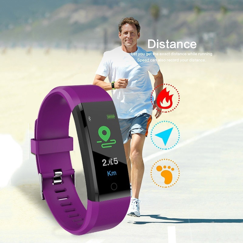 Waterproof Smart Bracelet Watch 115 Plus Blood Pressure Heart Rate Monitoring Smart Wristband Fitness Intelligent Tracker Band
