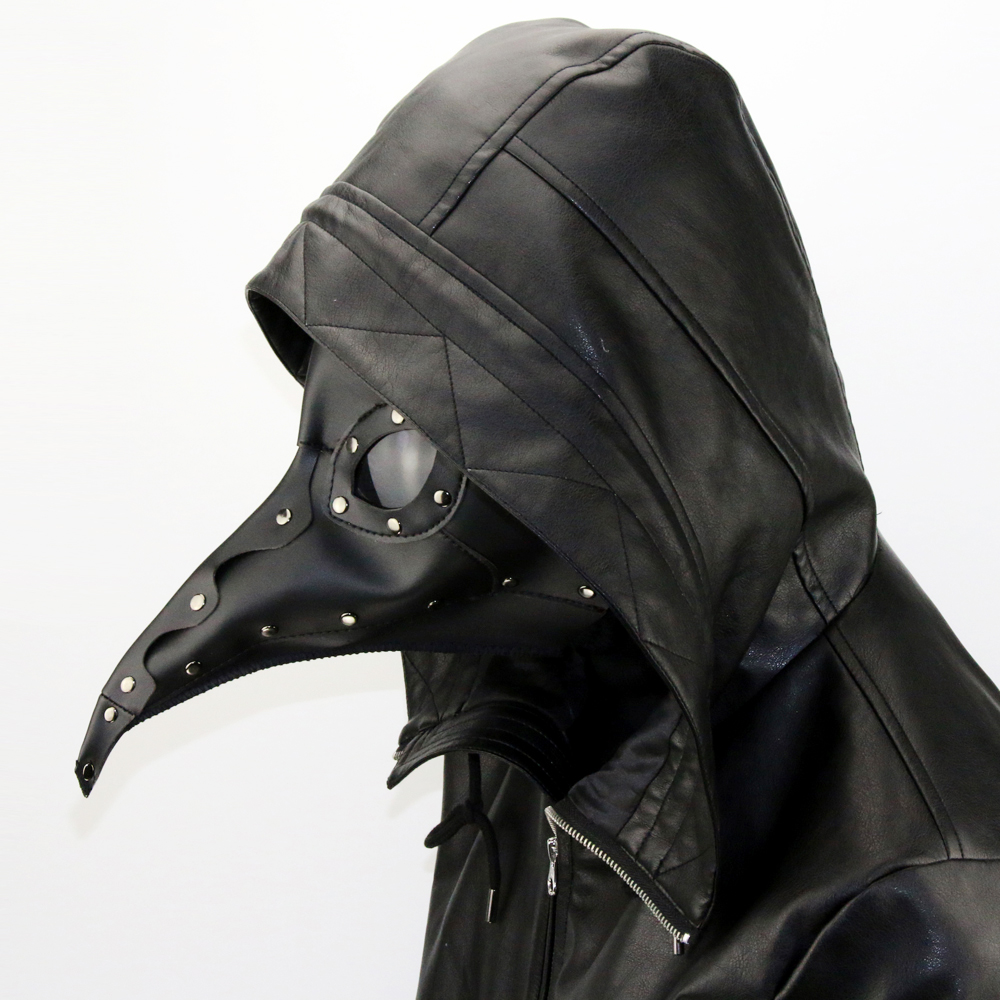 Steampunk New Upgrade Faux Leather Plague Doctor Masks Cosplay White And Black Bird Long Beak Masks Halloween Carnival Costumes